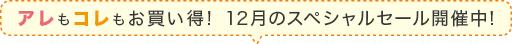 アレもコレもお得!12月のスペシャルセール開催中!